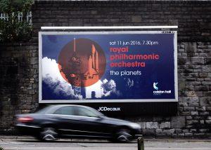 Colston Hall classical season, rocket billboard advert.