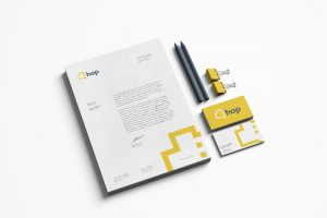 HOP branding on stationary