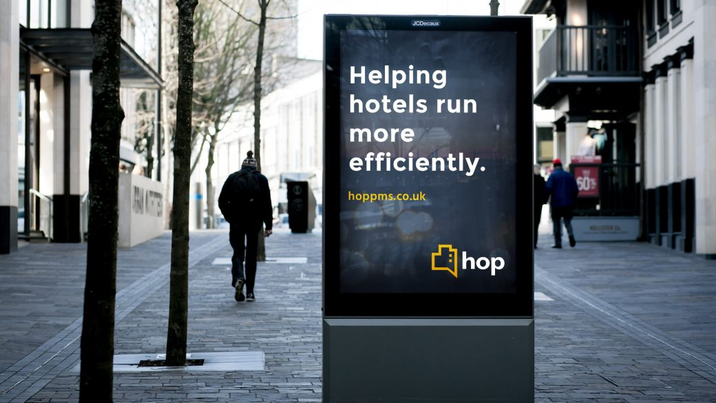 HOP advert in shopping centre
